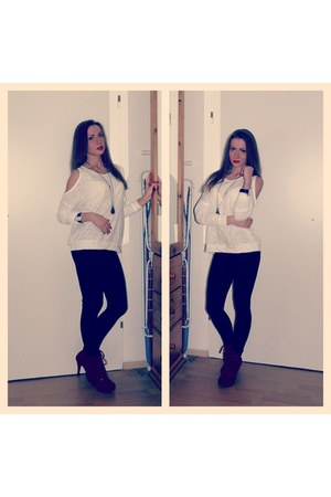 red boots - black H&M leggings - white Zara blouse