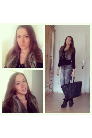 black GINA TRICOT bag - silver Stradivarius jeans - silver vest