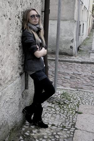 gray scarf - gray t-shirt - gray jacket - blue shorts - black tights - black boo