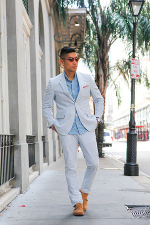 light blue seersucker Haspel jacket - brown Nordstrom shoes