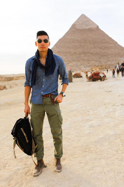 Menu0026#39;s Brown Desert Clarks Boots Blue Chambray JCrew Shirts Navy Uniqlo Scarves | u0026quot;Pyramidsu0026quot; by ...