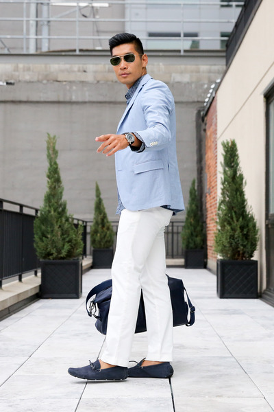 navy loafers DSW shoes - sky blue Brooks Brothers jacket