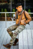 army green camo Target pants - dark brown desert Clarks boots