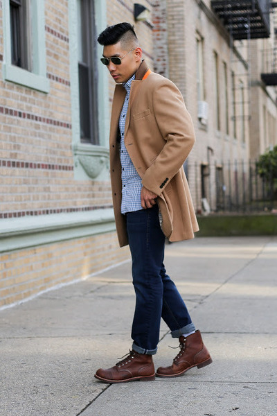 camel camel Tallia Orange coat - brown boots red wing boots