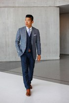 navy Bonobos vest - dark brown Johnston & Murphy shoes