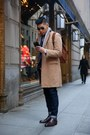 Dark-brown-leather-fratteli-rossetti-boots-camel-camel-coat