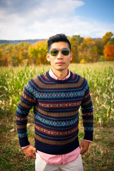 Men's Navy Fair Isle JCrew Sweaters, Brown Merona Target Boots ...