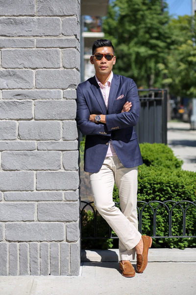 light brown suede Allen Edmonds shoes - navy gingham Brooks Brothers blazer