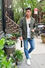 Blue-uniqlo-jeans-dark-green-paisley-bonobos-jacket-white-h-m-shirt
