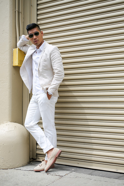 white oxford Uniqlo shirt - off white loafers JCrew shoes