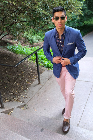 blue Zara blazer - dark brown Cole Haan shoes - blue Uniqlo shirt