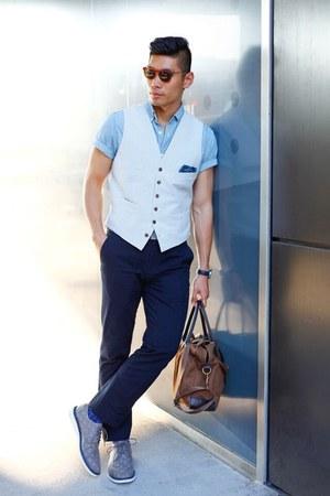 silver Fossil watch - blue denim JCrew shirt - dark brown JCrew bag