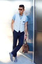 silver Fossil watch - blue denim JCrew shirt - dark brown JCrew bag
