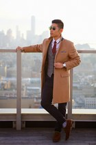 brown Allen Edmonds shoes - camel topcoat J Crew coat - navy Gap jeans