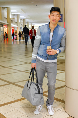heather gray Uniqlo jeans - blue Bershka jacket - white American Apparel shirt