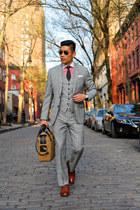 ruby red J J Threads shirt - dark brown Allen Edmonds shoes - camel Filson bag