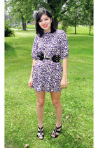 purple Forever 21 dress - gray Forever 21 necklace - gray Falling Whistles neckl