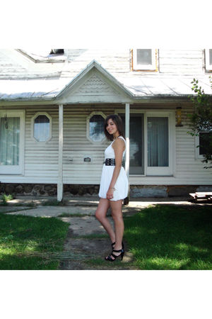 white f21 dress - black Mossimo belt - black Aldo shoes