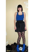 blue Forever 21 shirt - black Charlotte Russe skirt - black Wet Seal tights - bl