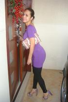 purple Linea Italia dress - black LnA leggings - purple Prada shoes - pink kate