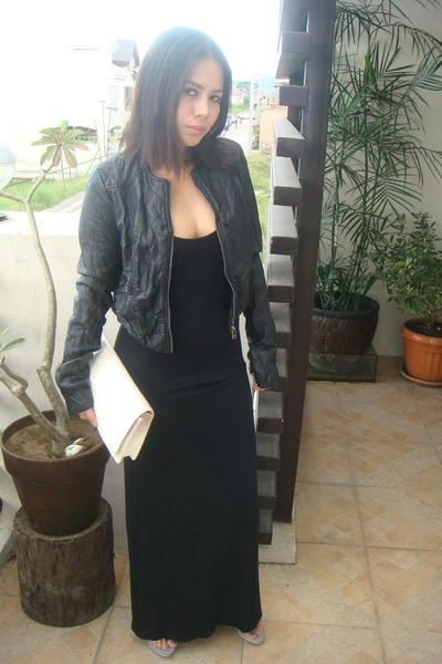 black Zara jacket - black Torn dress - gray Jill Sander shoes - white Prada purs
