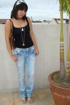 black Topshop top - blue Zara jeans - silver Havaianas shoes - silver Tiffany an