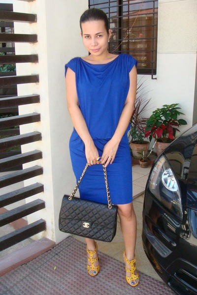 blue luca dresses gold jimmy choo shoes black chanel