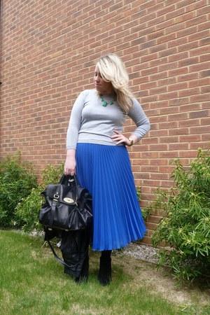 blue pleated whistles skirt - black alexa Mulberry bag