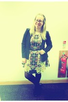 black Oasis jacket - yellow Topshop dress - black studded Zara belt
