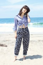 nautical vintage pants - Ralph Lauren blouse - shell statement earrings