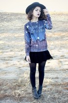 wide brim second hand hat - lace free people skirt - sweatshirt
