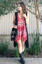 trapeze tank dress - thrifted bag - crochet cecico vest - vintage necklace