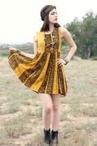 roper Ariat boots - animal print MinkPink dress - cheetah vintage scarf