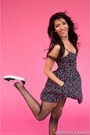 Black-and-pink-vans-shoes-black-babydoll-dress-h-m-dress