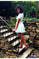 light blue dress - brown belt - brown wedges