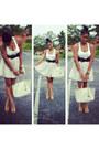 White-forever-21-shirt-off-white-michael-kors-purse-tan-pleated-skirt-skirt