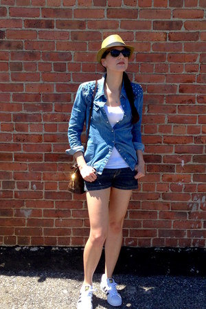 blue denim light Target blouse - camel straw fedora Forever 21 hat