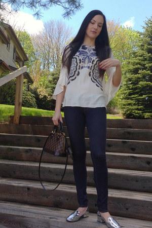 silver Zara loafers - navy H&M jeans - dark brown Louis Vuitton bag