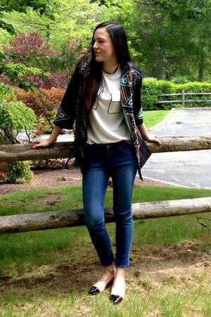 black H&M coat - blue H&M jeans - off white H&M blouse - tan next heels