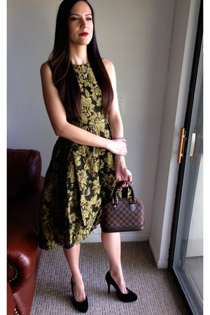 dark brown Louis Vuitton bag - black Chicwish dress