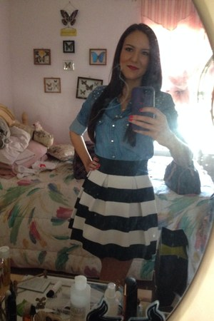 black striped skirt skirt - blue Forever 21 blouse