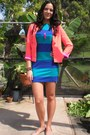 Blue-forever-21-dress-coral-hot-pink-lining-forever-21-blazer