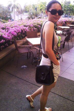 brown Miss Selfridges purse - gray MNG top - green scarf