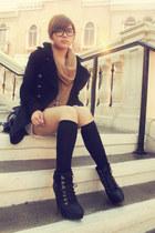 Zara coat - Topshop boots - unbranded socks - wool Topshop hoodie