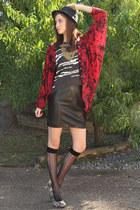 charcoal gray snakeskin Mia heels - black leather vintage skirt