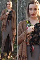 brown fringe BB Dakota cardigan - light brown sage knit BB Dakota skirt