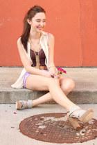 maroon hush cami Gentle Fawn top - amethyst MinkPink shorts