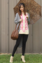 heather gray cardigan - black knit beret Tulle hat - hot pink vintage sweater