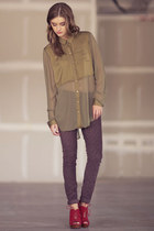 olive green free people blouse - ruby red seychelles wedges