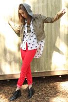 red utility free people pants - light brown BB Dakota hoodie
